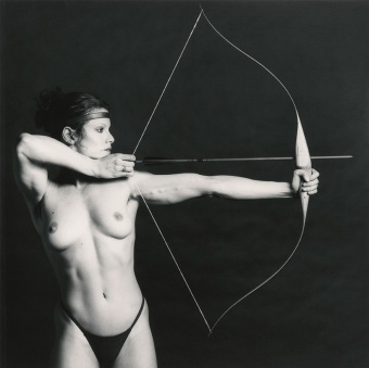 Robert Mapplethorpe, 'Bow and Arrow' (Lisa Lyon), 1981. Estimate £6,000–8,000. Bow and Arrow by Robert Mapplethorpe, one of the great masters of art photography, is a highly stylised black and white nude that condenses Mapplethorpe's search for aesthetic perfection.