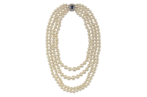 Faux pearl necklace, 20th century With blue paste clasp composed of four strands £2,000 - £3,000