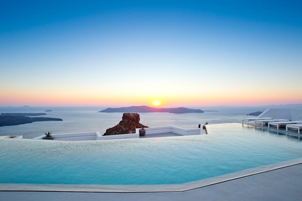 Grace Santorini Infinity Pool at Sunset