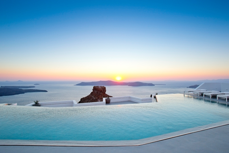 Grace Santorini Infinity Pool at Sunset